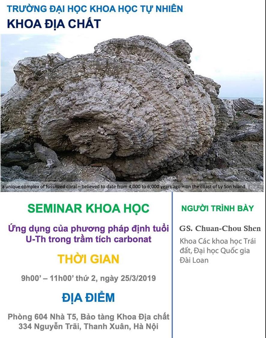 """Kết quả Seminar khoa học """"Ứng dụng của phương pháp định tuổi U-Th trong trầm tích carbonat"""""""
