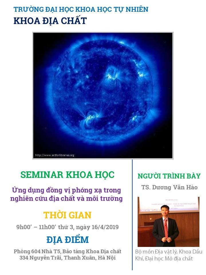 """Seminar khoa học: """"Ứng dụng đồng vị phóng xạ trong nghiên cứu địa chất và môi trường"""""""