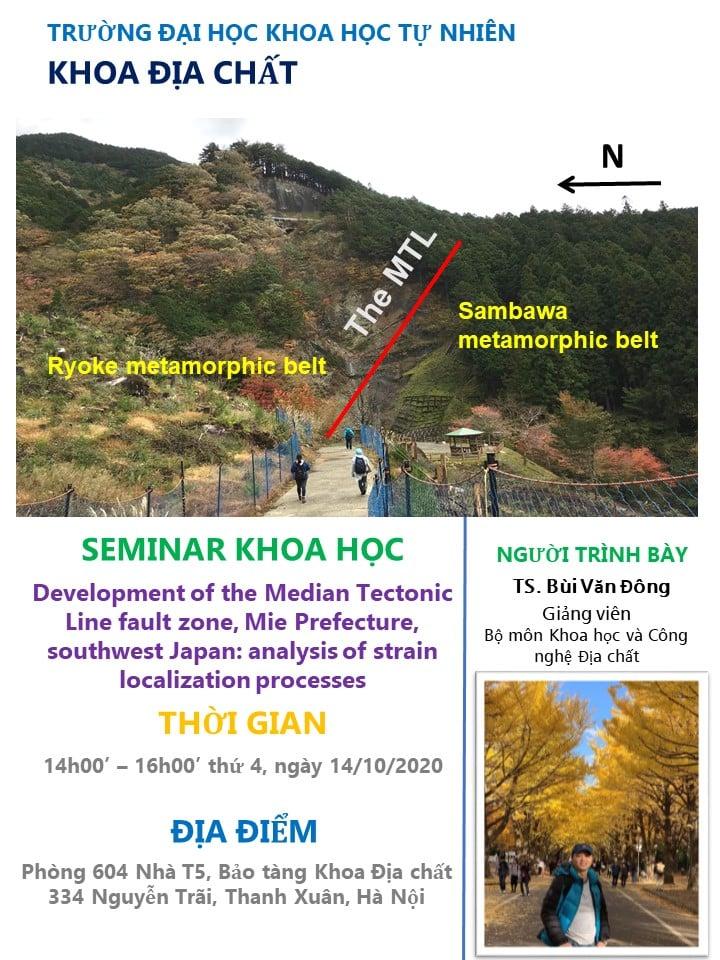 [Seminar] Nghiên cứu sự phát triển của một đới đứt gãy sâu dựa trên phân tích vi cấu trúc của các đá kiến tạo (fault rocks)